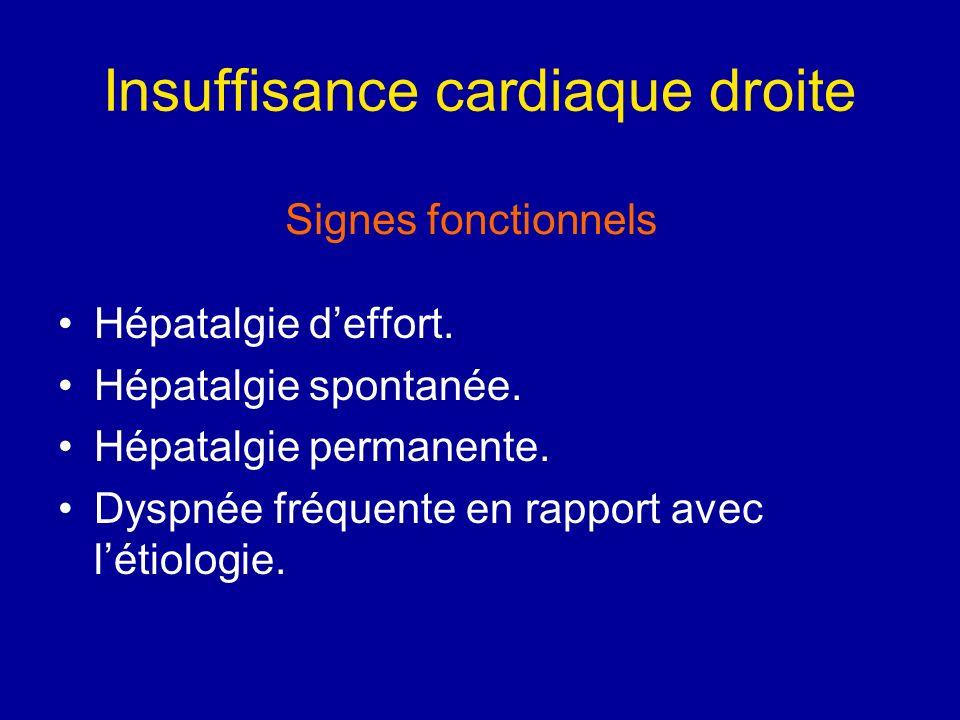 Insuffisance cardiaque droite Hépatalgie deffort. Hépatalgie spontanée. Hépatalgie permanente. Dyspnée fréquente en rapport avec létiologie. Signes fo