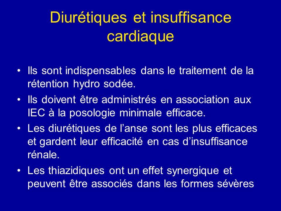 Diurétiques et insuffisance cardiaque Ils sont indispensables dans le traitement de la rétention hydro sodée. Ils doivent être administrés en associat