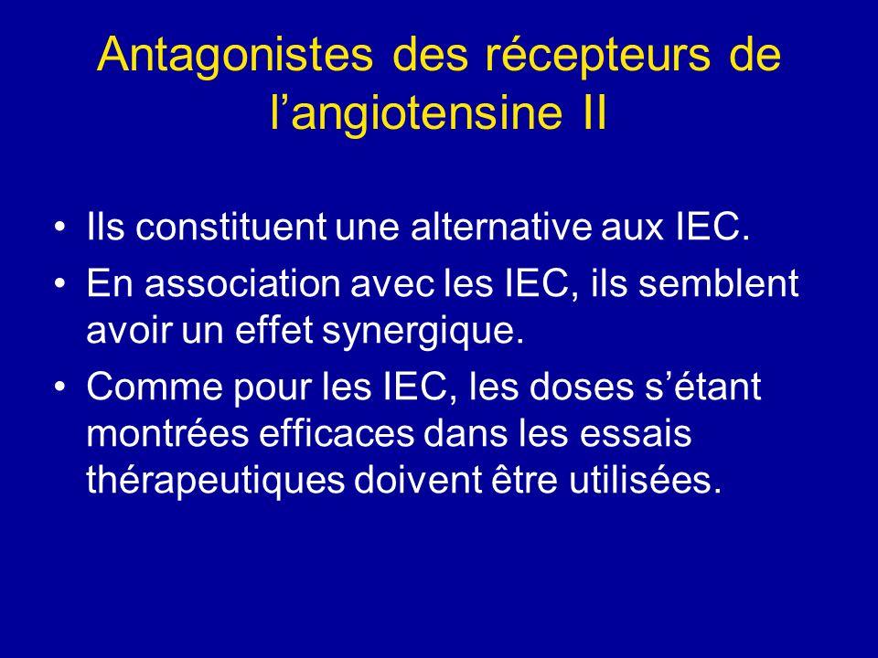 Antagonistes des récepteurs de langiotensine II Ils constituent une alternative aux IEC. En association avec les IEC, ils semblent avoir un effet syne