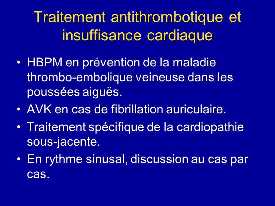 Traitement antithrombotique et insuffisance cardiaque HBPM en prévention de la maladie thrombo-embolique veineuse dans les poussées aiguës. AVK en cas
