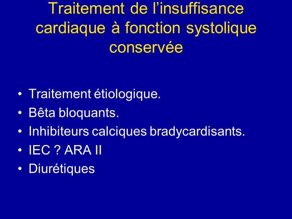 Traitement de linsuffisance cardiaque à fonction systolique conservée Traitement étiologique. Bêta bloquants. Inhibiteurs calciques bradycardisants. I