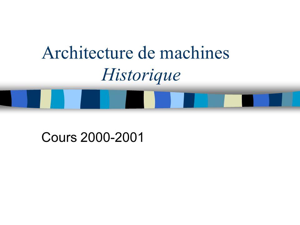 Architecture de machines Historique Cours 2000-2001