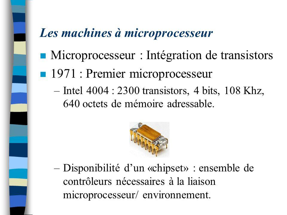 Les machines à microprocesseur n Microprocesseur : Intégration de transistors n 1971 : Premier microprocesseur –Intel 4004 : 2300 transistors, 4 bits,