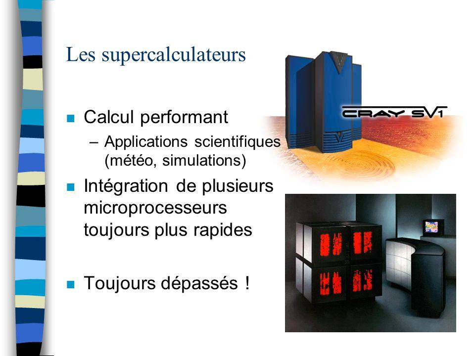 Les supercalculateurs n Calcul performant –Applications scientifiques (météo, simulations) n Intégration de plusieurs microprocesseurs toujours plus r