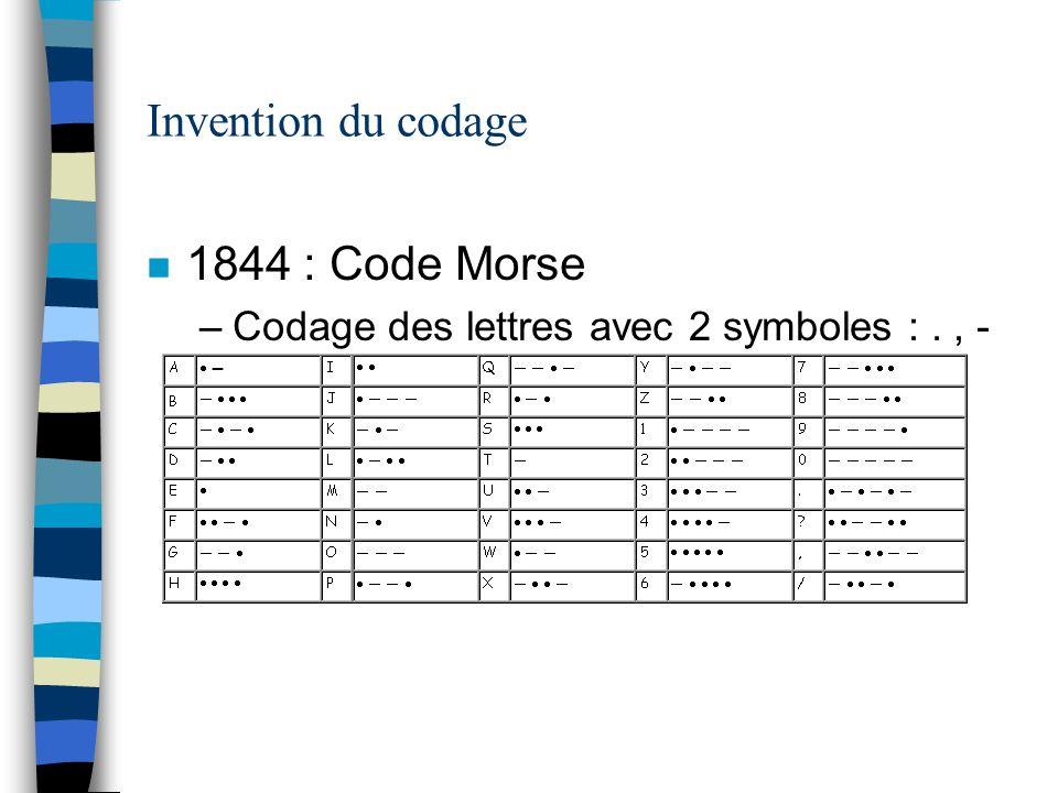 1844 : Algèbre de boole n Utilisation du binaire –2 symboles {0,1}, {Vrai, Faux} –Opérations sur ces symboles ET, OU, NON, … n 1937 : Calculabilité –Machine de Turing n 1938 : Shannon réalise un parallèle entre le binaire et lélectronique –Invention du Bit