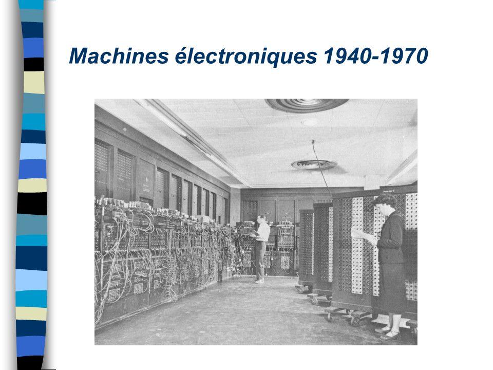 Machines pour le décryptage n 1941 : Konrad Zuse invente le Z3 –Premier calculateur à programme enregistré n 1946 Eniac –330 multiplications/seconde horloge à 100 Khz –Programme entré par recablage –En 1948, upgrade avec des instructions prédéfinies (premier langage machine),