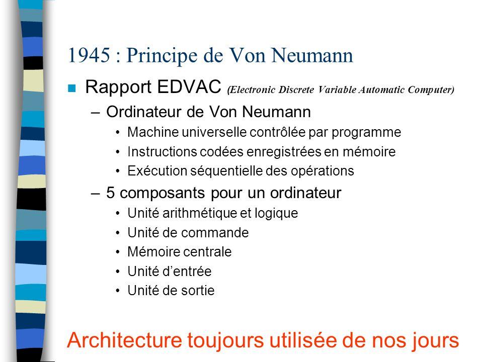 1945 : Principe de Von Neumann Rapport EDVAC ( Electronic Discrete Variable Automatic Computer) –Ordinateur de Von Neumann Machine universelle contrôl