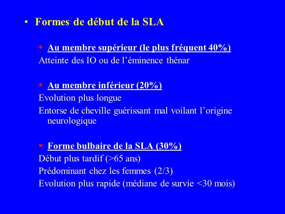 Formes de début de la SLA Au membre supérieur (le plus fréquent 40%) Atteinte des IO ou de léminence thénar Au membre inférieur (20%) Evolution plus l