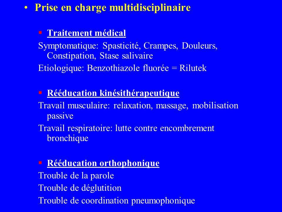 Prise en charge multidisciplinaire Traitement médical Symptomatique: Spasticité, Crampes, Douleurs, Constipation, Stase salivaire Etiologique: Benzoth