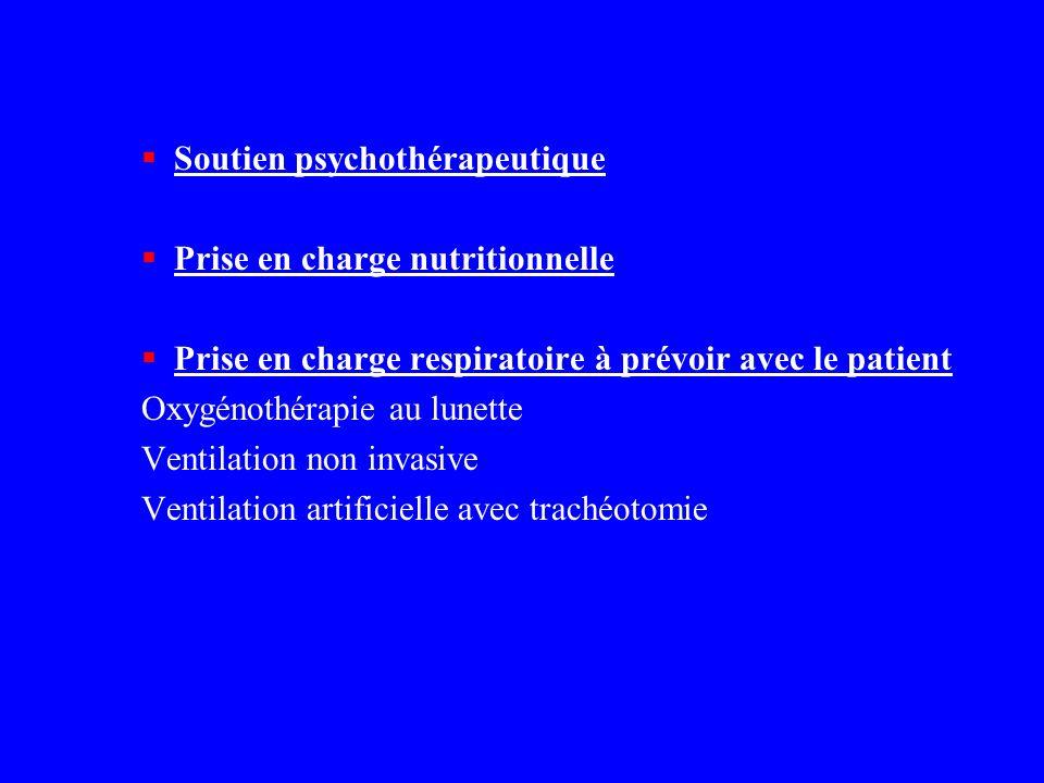 Soutien psychothérapeutique Prise en charge nutritionnelle Prise en charge respiratoire à prévoir avec le patient Oxygénothérapie au lunette Ventilati