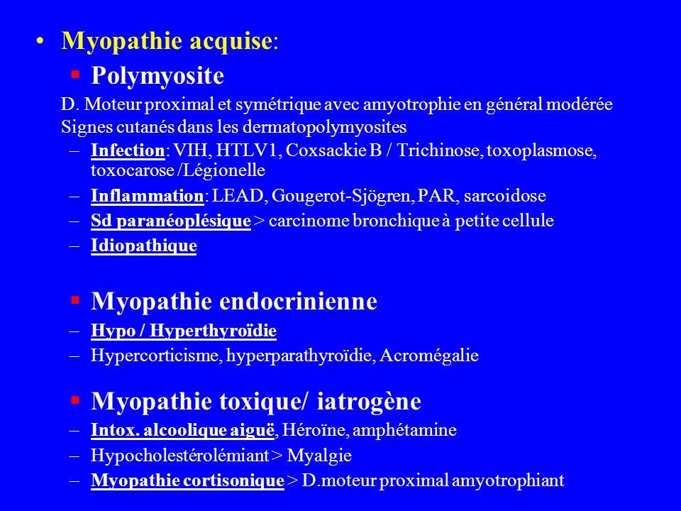 Myopathie acquise: Polymyosite D. Moteur proximal et symétrique avec amyotrophie en général modérée Signes cutanés dans les dermatopolymyosites –Infec