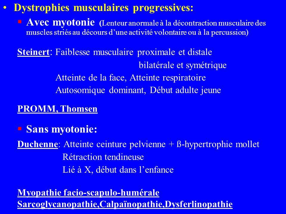 Dystrophies musculaires progressives: Avec myotonie (Lenteur anormale à la décontraction musculaire des muscles striés au décours dune activité volont