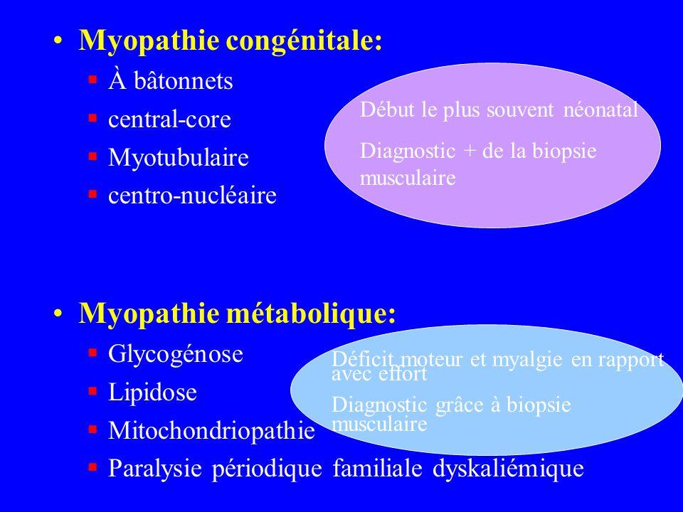 Myopathie congénitale: À bâtonnets central-core Myotubulaire centro-nucléaire Myopathie métabolique: Glycogénose Lipidose Mitochondriopathie Paralysie