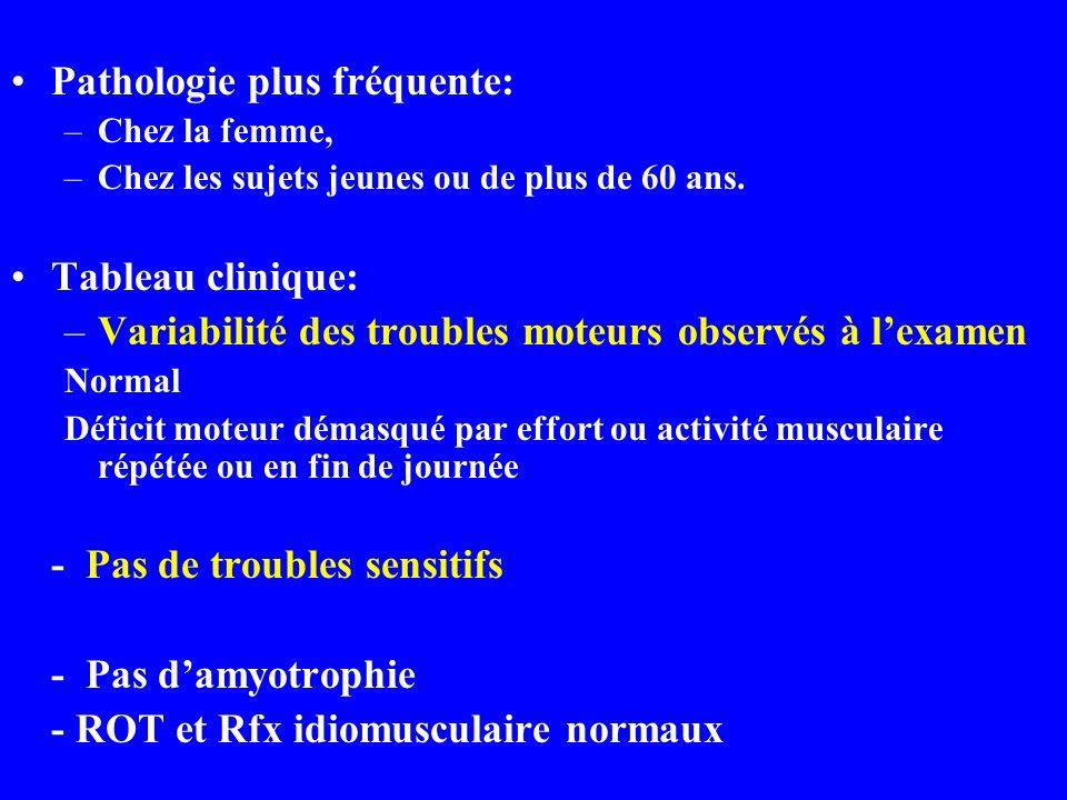 Pathologie plus fréquente: –Chez la femme, –Chez les sujets jeunes ou de plus de 60 ans. Tableau clinique: –Variabilité des troubles moteurs observés