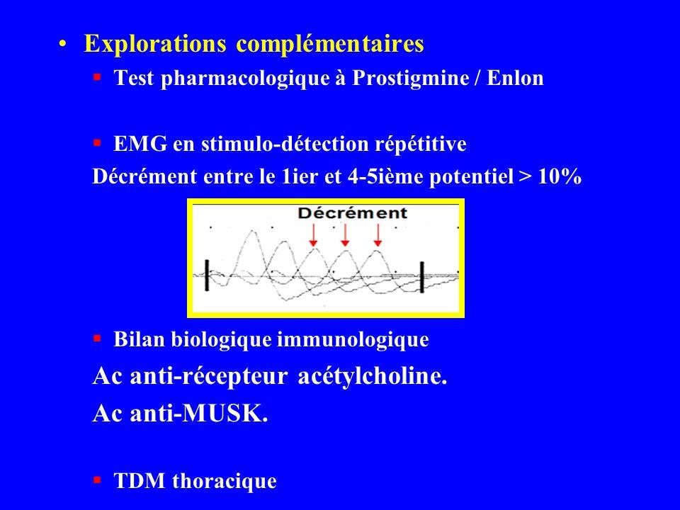 Explorations complémentaires Test pharmacologique à Prostigmine / Enlon EMG en stimulo-détection répétitive Décrément entre le 1ier et 4-5ième potenti
