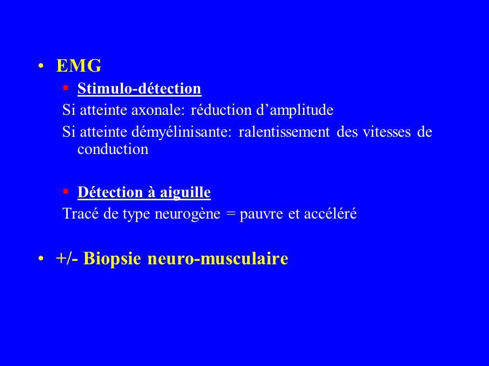 EMG Stimulo-détection Si atteinte axonale: réduction damplitude Si atteinte démyélinisante: ralentissement des vitesses de conduction Détection à aigu