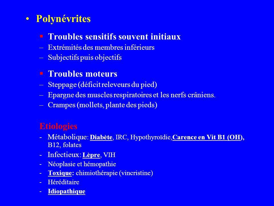 Polynévrites Troubles sensitifs souvent initiaux –Extrémités des membres inférieurs –Subjectifs puis objectifs Troubles moteurs –Steppage (déficit rel
