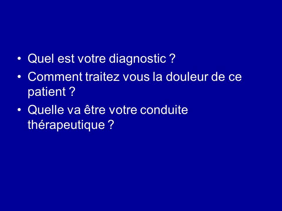 Quel est votre diagnostic ? Comment traitez vous la douleur de ce patient ? Quelle va être votre conduite thérapeutique ?
