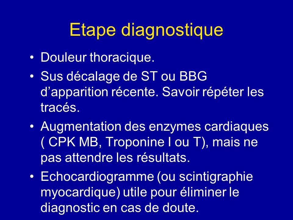 Etape diagnostique Douleur thoracique. Sus décalage de ST ou BBG dapparition récente. Savoir répéter les tracés. Augmentation des enzymes cardiaques (