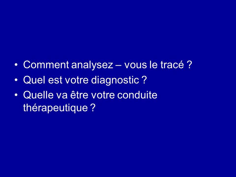 Comment analysez – vous le tracé ? Quel est votre diagnostic ? Quelle va être votre conduite thérapeutique ?