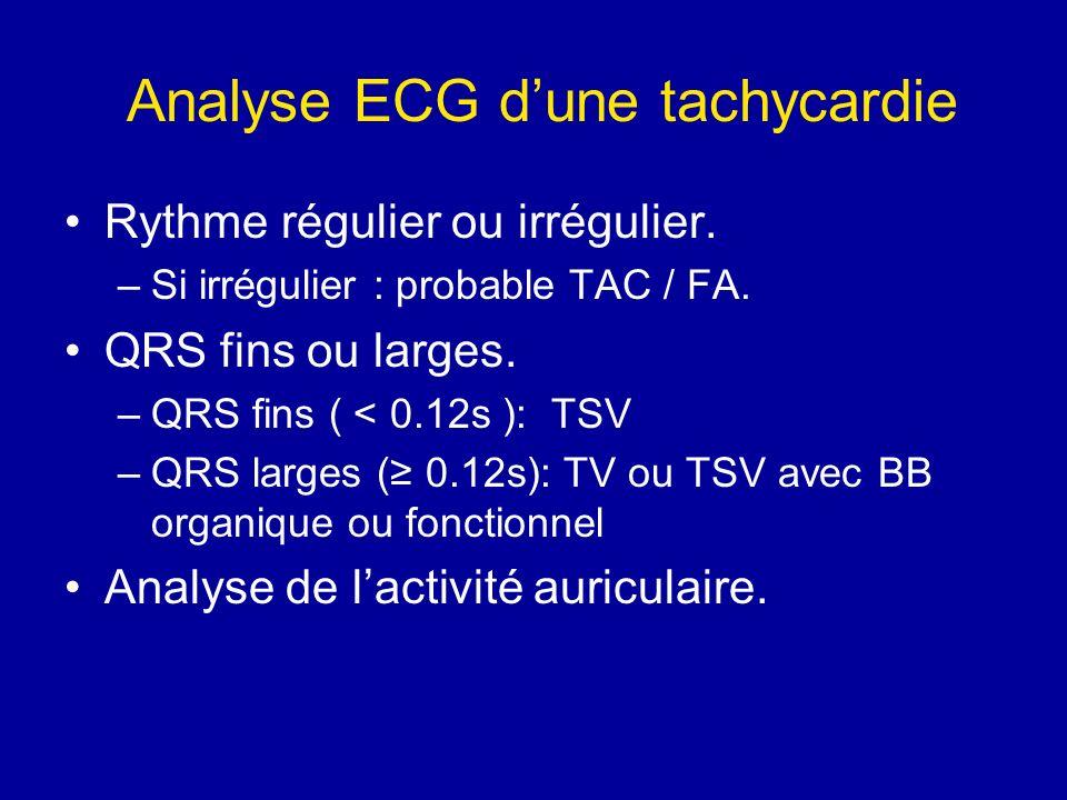 Analyse ECG dune tachycardie Rythme régulier ou irrégulier. –Si irrégulier : probable TAC / FA. QRS fins ou larges. –QRS fins ( < 0.12s ): TSV –QRS la