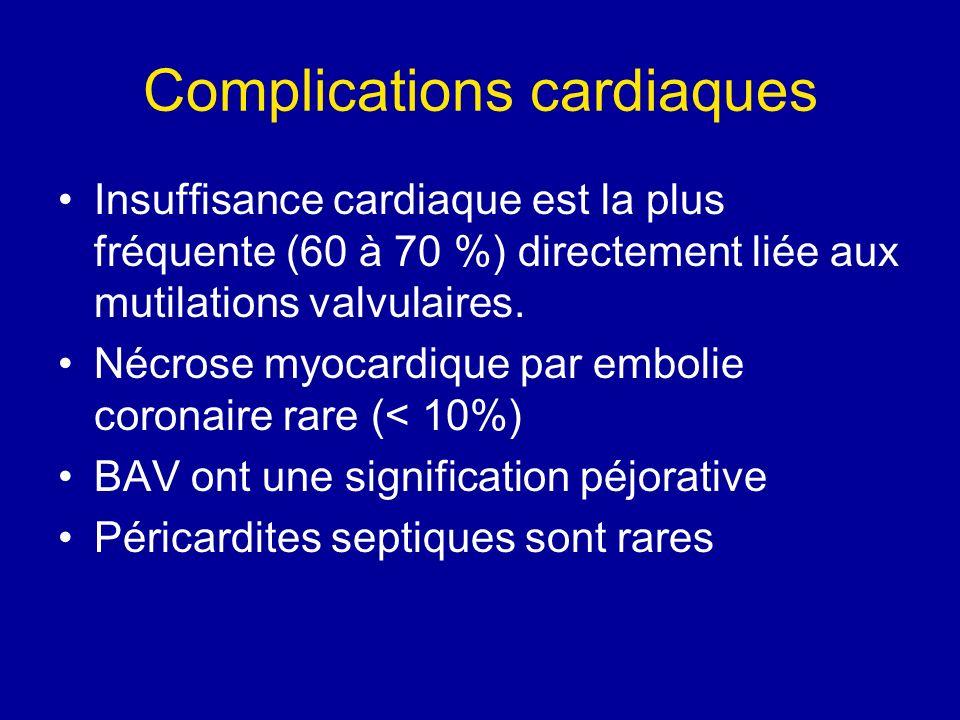 Complications cardiaques Insuffisance cardiaque est la plus fréquente (60 à 70 %) directement liée aux mutilations valvulaires. Nécrose myocardique pa