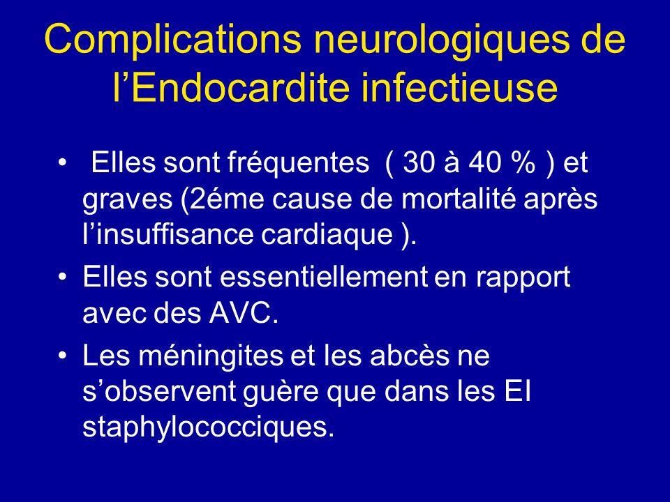 Complications neurologiques de lEndocardite infectieuse Elles sont fréquentes ( 30 à 40 % ) et graves (2éme cause de mortalité après linsuffisance car