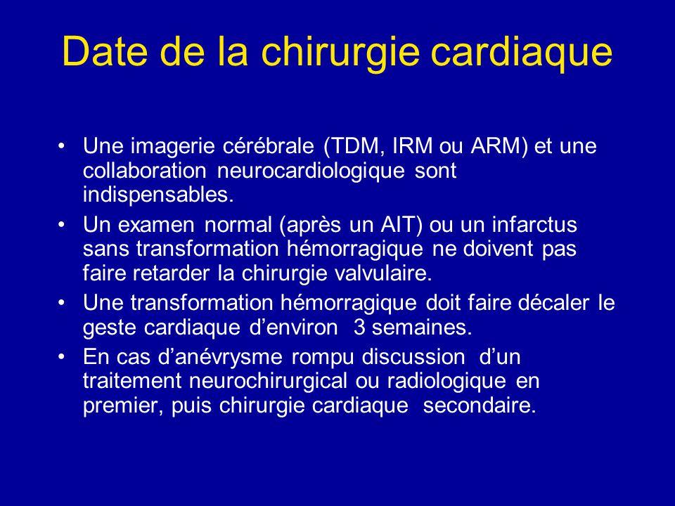 Date de la chirurgie cardiaque Une imagerie cérébrale (TDM, IRM ou ARM) et une collaboration neurocardiologique sont indispensables. Un examen normal