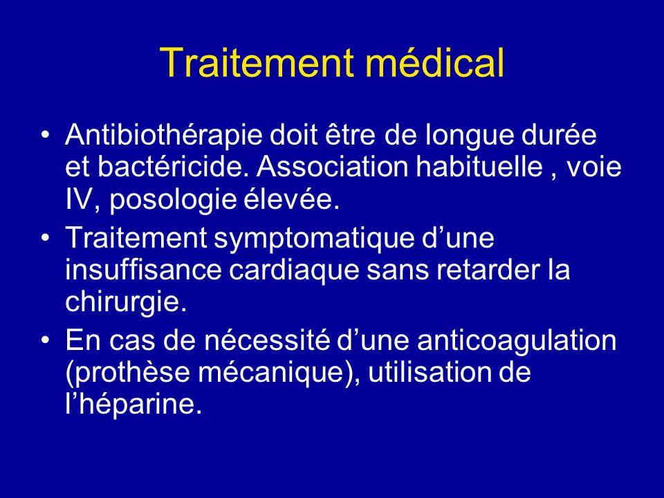 Traitement médical Antibiothérapie doit être de longue durée et bactéricide. Association habituelle, voie IV, posologie élevée. Traitement symptomatiq