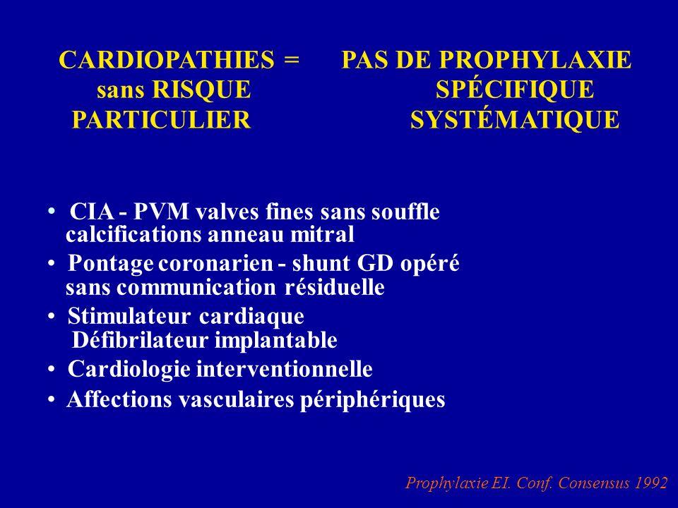 CIA - PVM valves fines sans souffle calcifications anneau mitral Pontage coronarien - shunt GD opéré sans communication résiduelle Stimulateur cardiaq