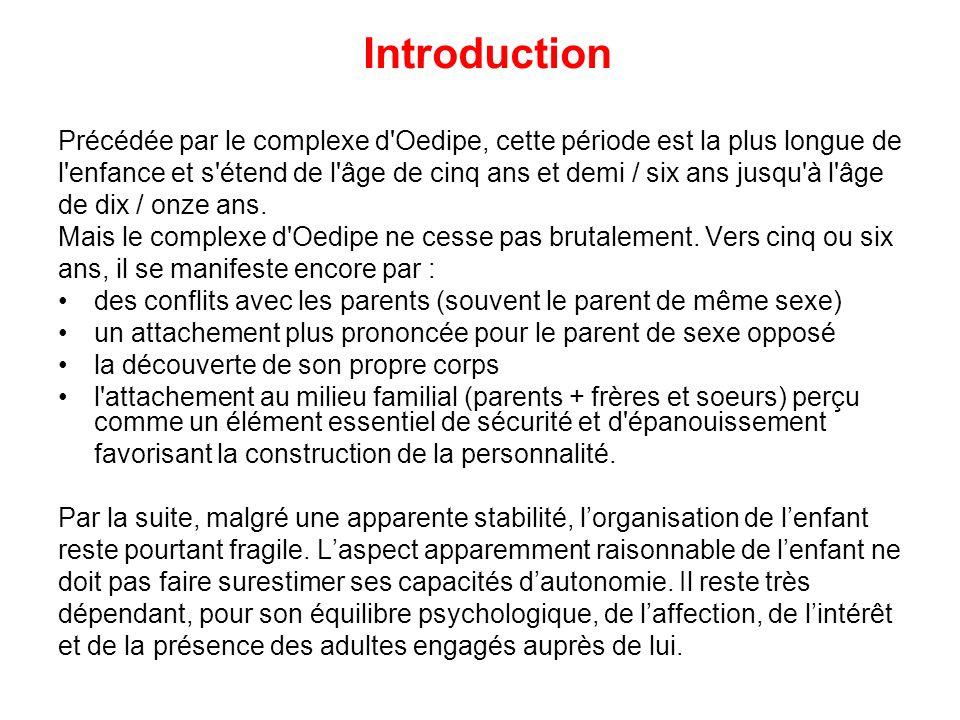 Introduction Précédée par le complexe d'Oedipe, cette période est la plus longue de l'enfance et s'étend de l'âge de cinq ans et demi / six ans jusqu'