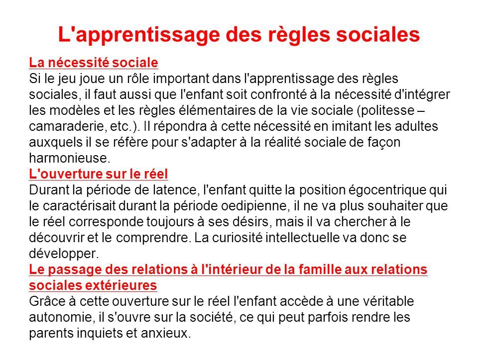 L'apprentissage des règles sociales La nécessité sociale Si le jeu joue un rôle important dans l'apprentissage des règles sociales, il faut aussi que