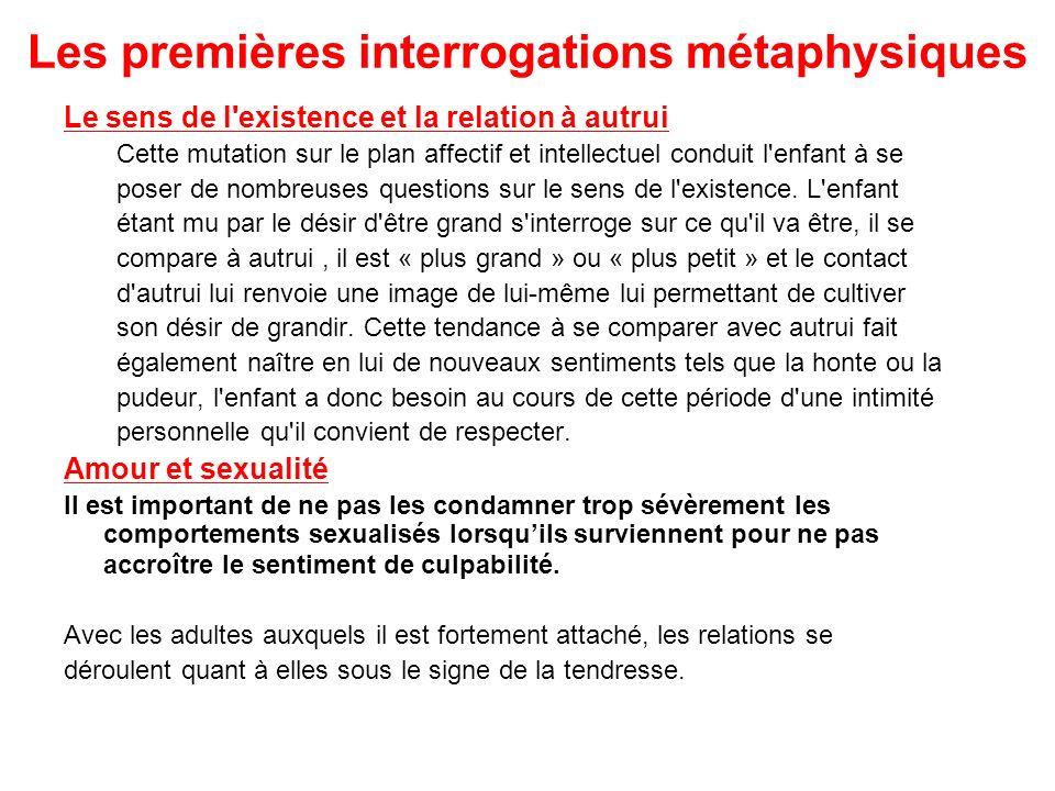 Les premières interrogations métaphysiques Le sens de l'existence et la relation à autrui Cette mutation sur le plan affectif et intellectuel conduit