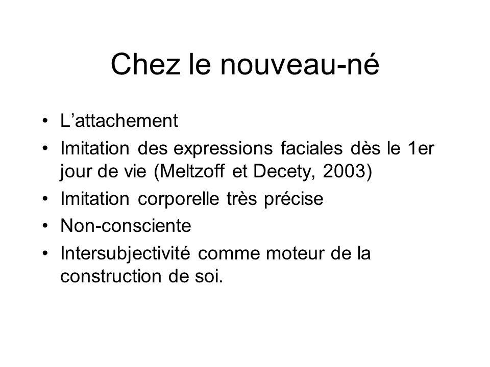 Chez le nouveau-né Lattachement Imitation des expressions faciales dès le 1er jour de vie (Meltzoff et Decety, 2003) Imitation corporelle très précise