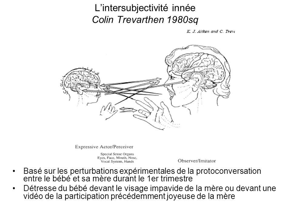 Lintersubjectivité innée Colin Trevarthen 1980sq Basé sur les perturbations expérimentales de la protoconversation entre le bébé et sa mère durant le