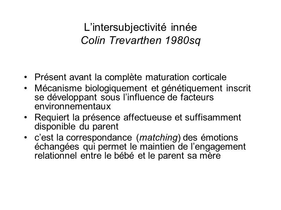 Lintersubjectivité innée Colin Trevarthen 1980sq Présent avant la complète maturation corticale Mécanisme biologiquement et génétiquement inscrit se d