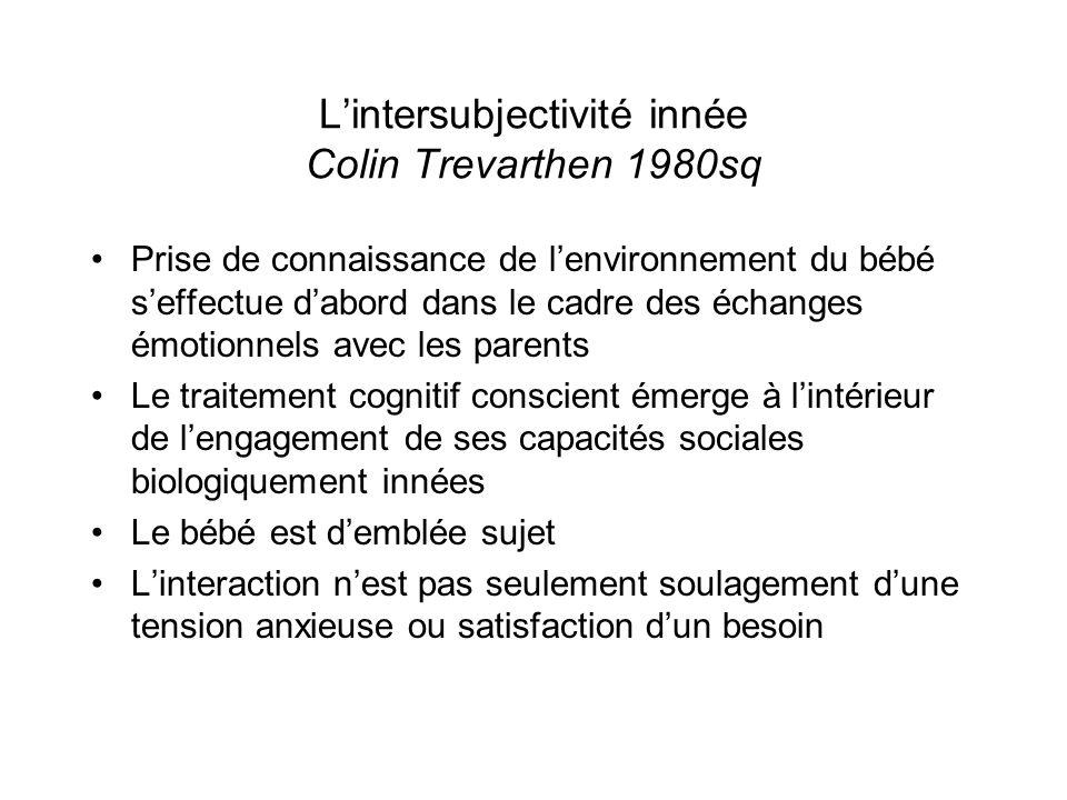 Lintersubjectivité innée Colin Trevarthen 1980sq Prise de connaissance de lenvironnement du bébé seffectue dabord dans le cadre des échanges émotionne