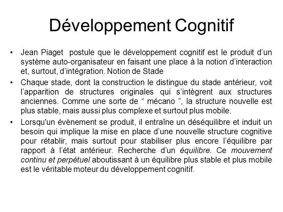 Développement Cognitif Jean Piaget postule que le développement cognitif est le produit dun système auto-organisateur en faisant une place à la notion