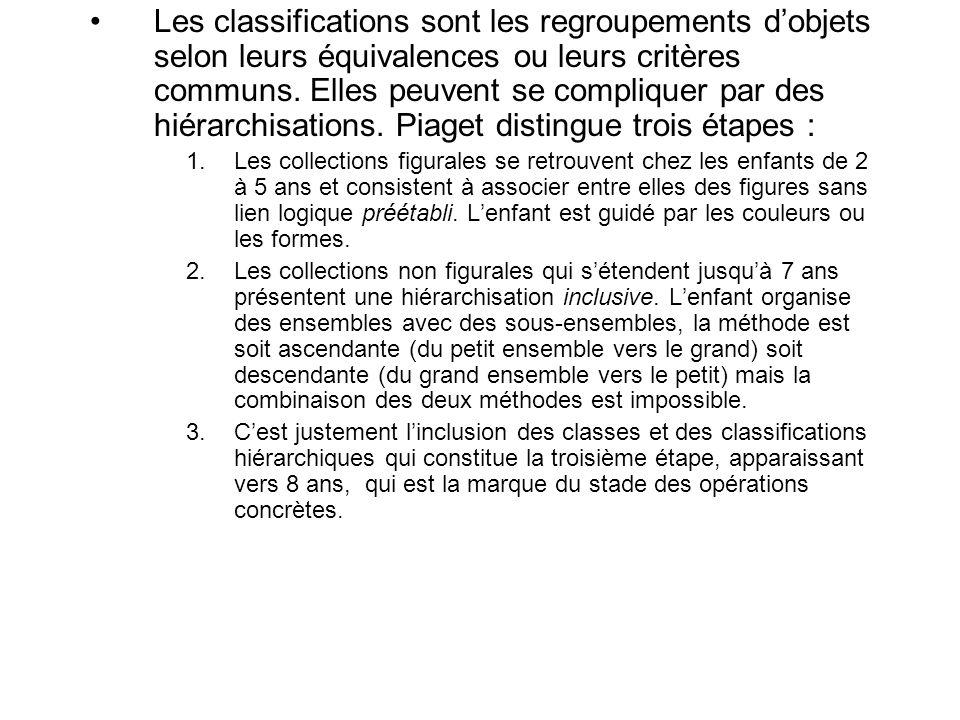 Les classifications sont les regroupements dobjets selon leurs équivalences ou leurs critères communs. Elles peuvent se compliquer par des hiérarchisa