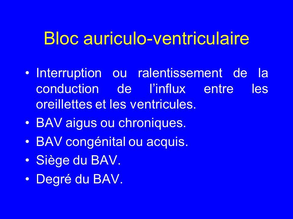 Nosologie BAV aigus, régressant avec la maladie causale.