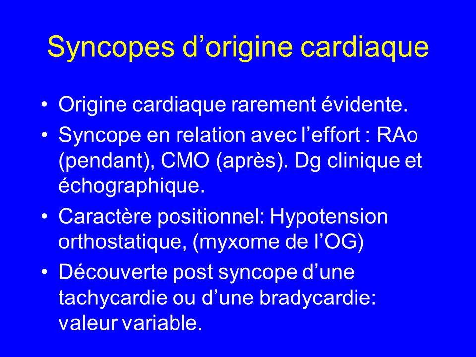 Syncopes dorigine non cardiaque Evolue en 3 phases.