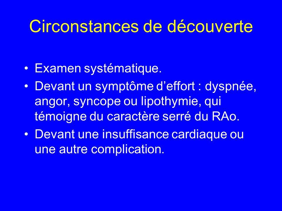 Circonstances de découverte Examen systématique. Devant un symptôme deffort : dyspnée, angor, syncope ou lipothymie, qui témoigne du caractère serré d