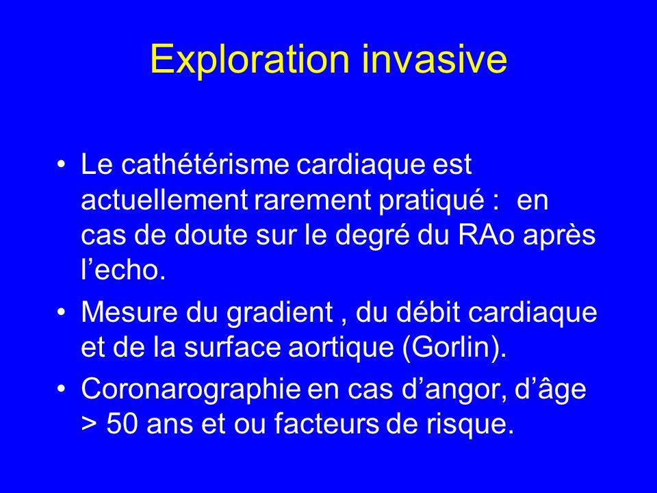Exploration invasive Le cathétérisme cardiaque est actuellement rarement pratiqué : en cas de doute sur le degré du RAo après lecho. Mesure du gradien