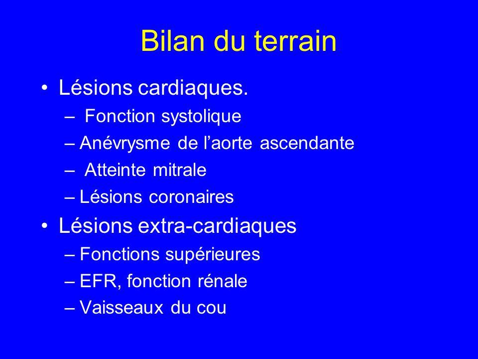 Bilan du terrain Lésions cardiaques. – Fonction systolique –Anévrysme de laorte ascendante – Atteinte mitrale –Lésions coronaires Lésions extra-cardia