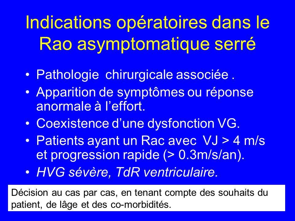 Indications opératoires dans le Rao asymptomatique serré Pathologie chirurgicale associée. Apparition de symptômes ou réponse anormale à leffort. Coex