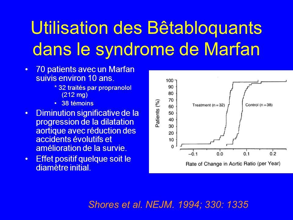 Utilisation des Bêtabloquants dans le syndrome de Marfan 70 patients avec un Marfan suivis environ 10 ans. * 32 traités par propranolol (212 mg) 38 té