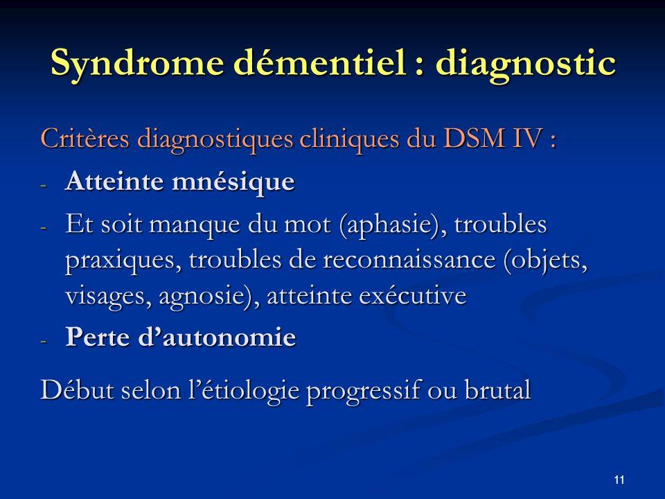 11 Syndrome démentiel : diagnostic Critères diagnostiques cliniques du DSM IV : - Atteinte mnésique - Et soit manque du mot (aphasie), troubles praxiques, troubles de reconnaissance (objets, visages, agnosie), atteinte exécutive - Perte dautonomie Début selon létiologie progressif ou brutal