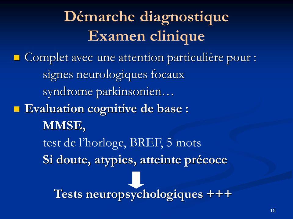 15 Démarche diagnostique Examen clinique Complet avec une attention particulière pour : Complet avec une attention particulière pour : signes neurolog
