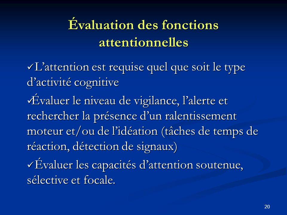 20 Évaluation des fonctions attentionnelles Lattention est requise quel que soit le type dactivité cognitive Lattention est requise quel que soit le t