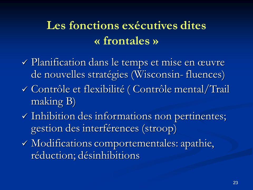 23 Les fonctions exécutives dites « frontales » Planification dans le temps et mise en œuvre de nouvelles stratégies (Wisconsin- fluences) Planificati